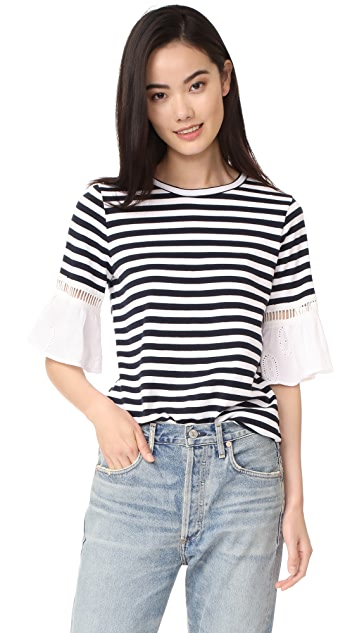 Clu Striped Top with Contrast Ruffles