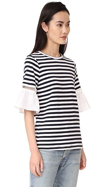 Clu Striped Top with Contrast Ruffles