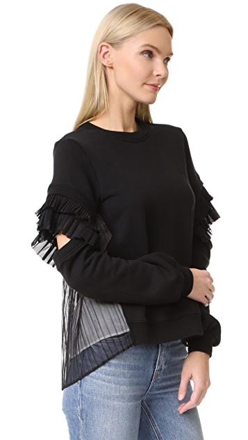 Clu Contrast Pleated Sweatshirt