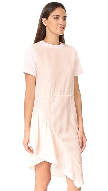 Clu Asymmetrical Paneled Mix Media Dress