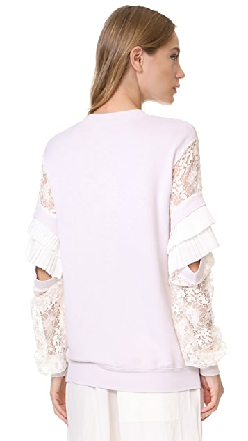 Clu Pleat Trimmed Lace Sleeve Pullover