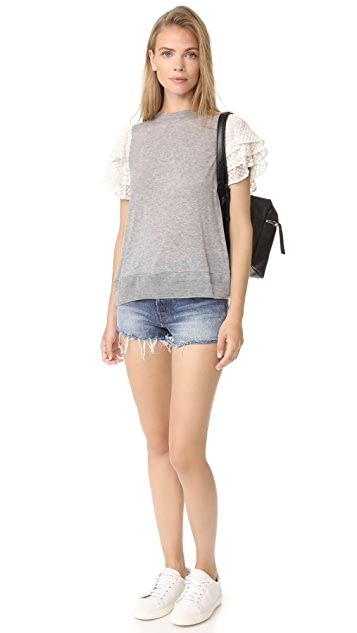 Clu Embroidered Silk Sleeve Top