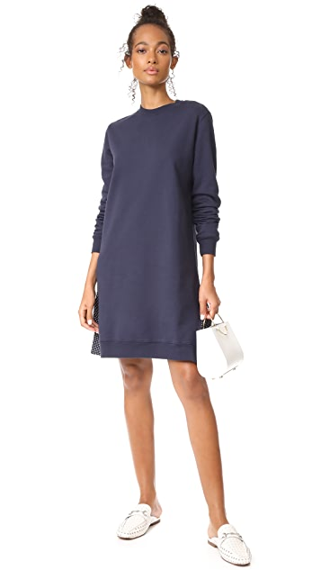 Clu Clu Too Polka Dot Ruffled Sweatshirt Dress