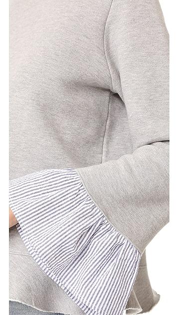 Clu Clu Too Sweatshirt with Striped Ruffled Sleeves