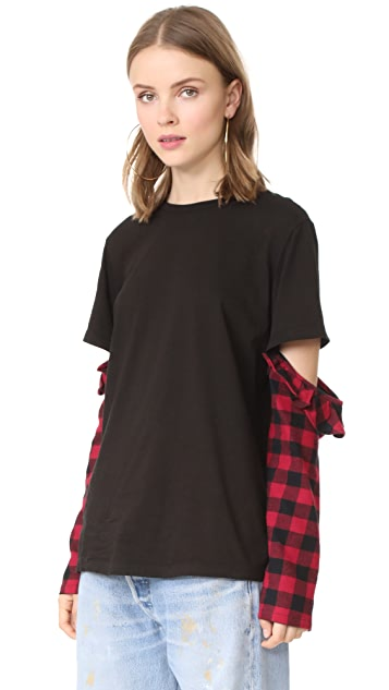Clu Clu Too Mix Media Open Sleeve Top