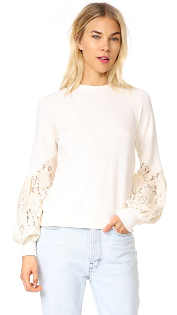 Clu Terry Sweat Top with Lace Sleeves