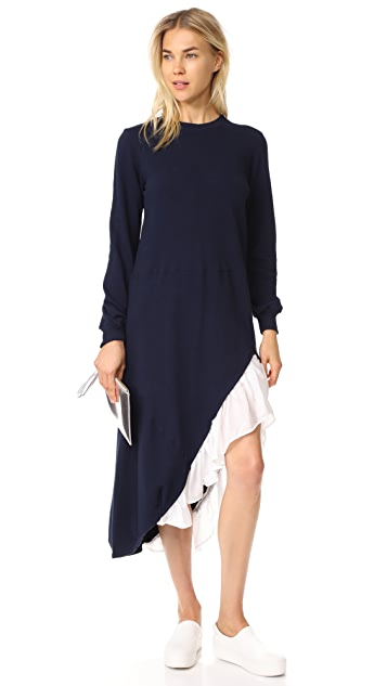 Clu Sweater Dress with Asymmetrical Ruffles