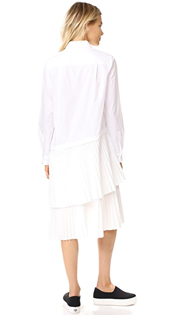 Clu Asymmetrical Paneled Button Up Dress