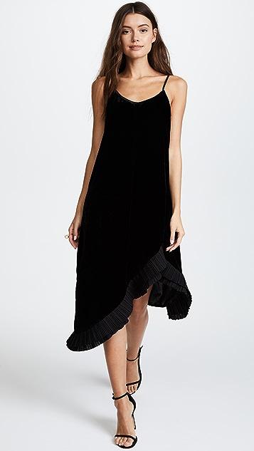 Clu Pleat Trimmed Velvet Dress