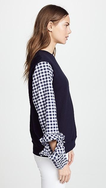 Clu Sweatshirt with Gingham Ruffle Sleeve