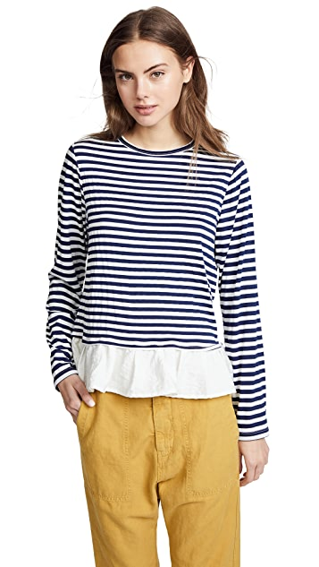 Clu Asymmetric Stripe T-Shirt with Ruffles