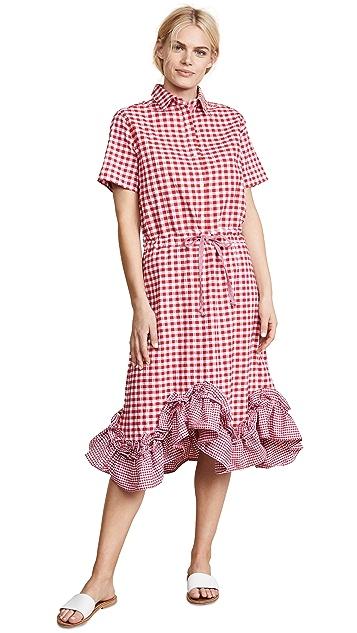 Clu Gingham Shirt Dress with Ruffles