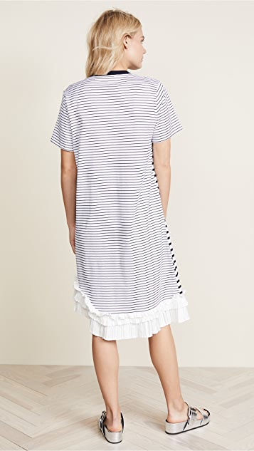 Clu Stripe T-Shirt Dress with Pleating