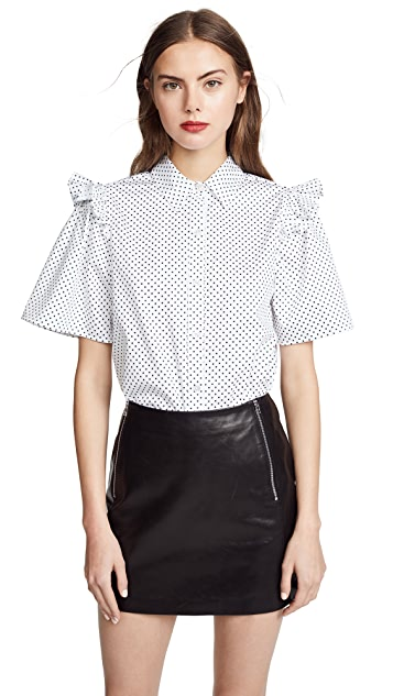 Clu Polka Dot Shirt with Ruffle