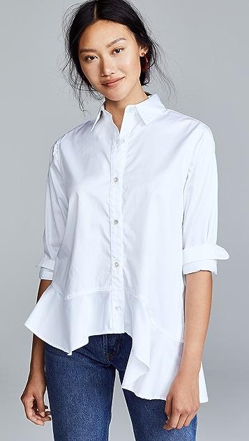 Clu Assymetrical Ruffle Hemmed Shirt