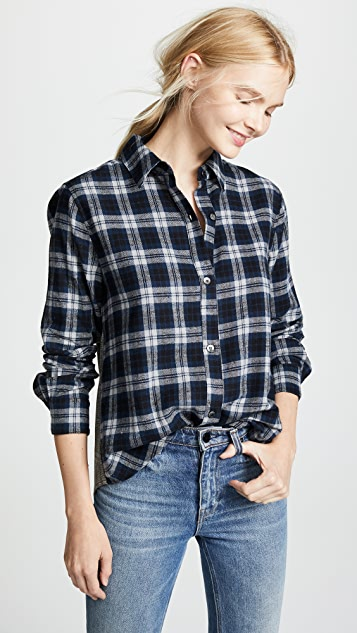Clu Plaid Button Up Blouse with Ruffle Trim