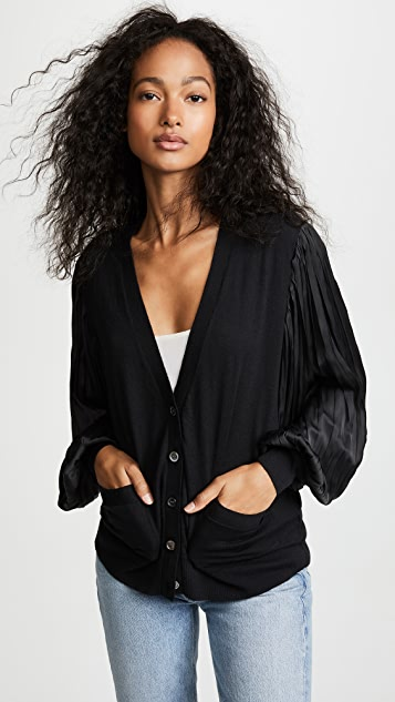 Clu Pleated Sleeve Cardigan