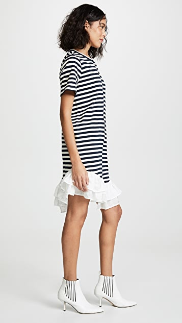 Clu Striped Dress with Silk Ruffle