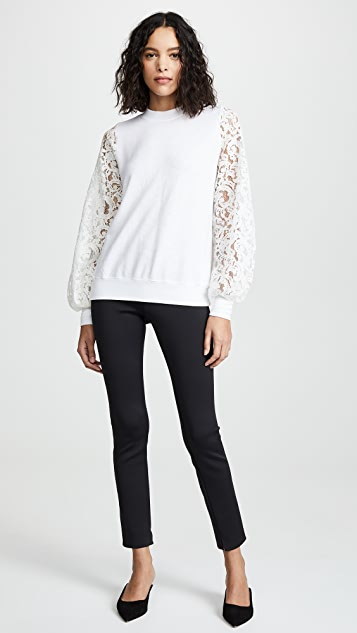 Clu Mixed Media Sweatshirt with Lace Sleeves