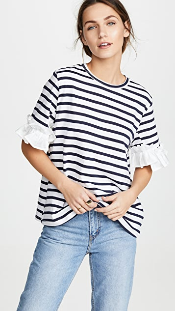 Clu Stripe T-Shirt with Ruffles - Navy