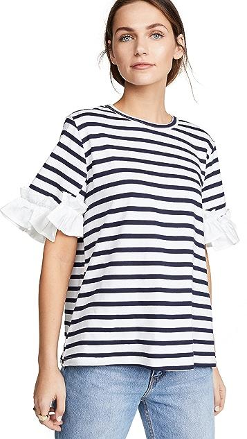 Clu Stripe T-Shirt with Ruffles