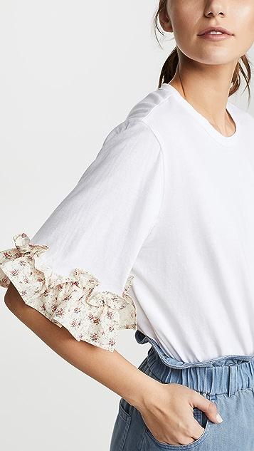Clu Футболка с оборками и цветочным узором