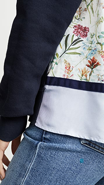 Clu Mix Media Floral Pullover