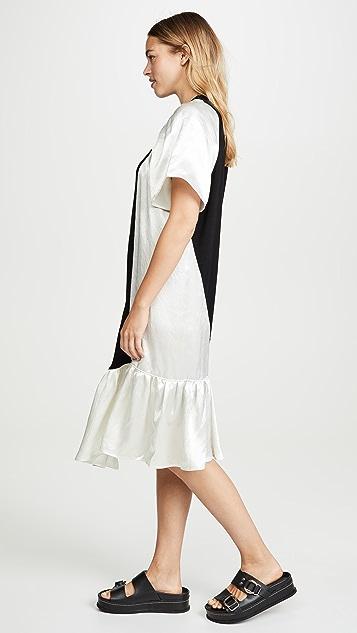 Clu 荷叶边混合材质连衣裙