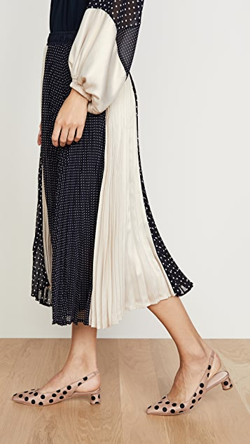 Clu Polka Dot and Gold Pleated Skirt