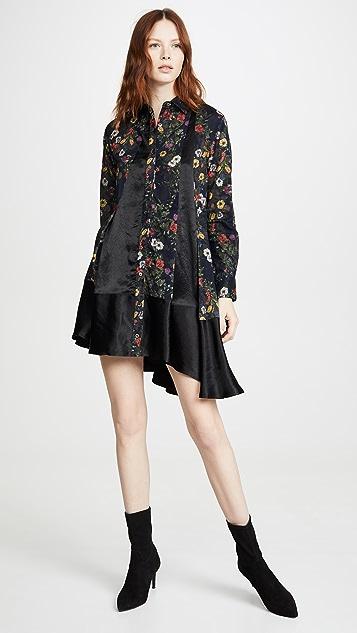 Clu 花卉拼接衬衣连衣裙