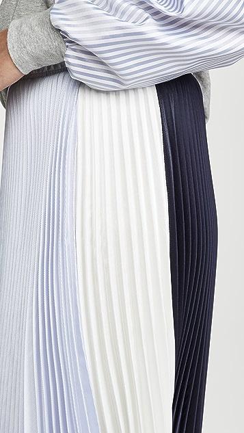 Clu 拼色褶皱半身裙