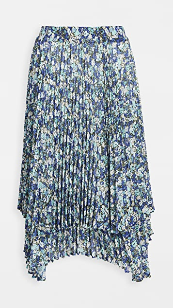 Clu Double Layered Floral Pleated Skirt