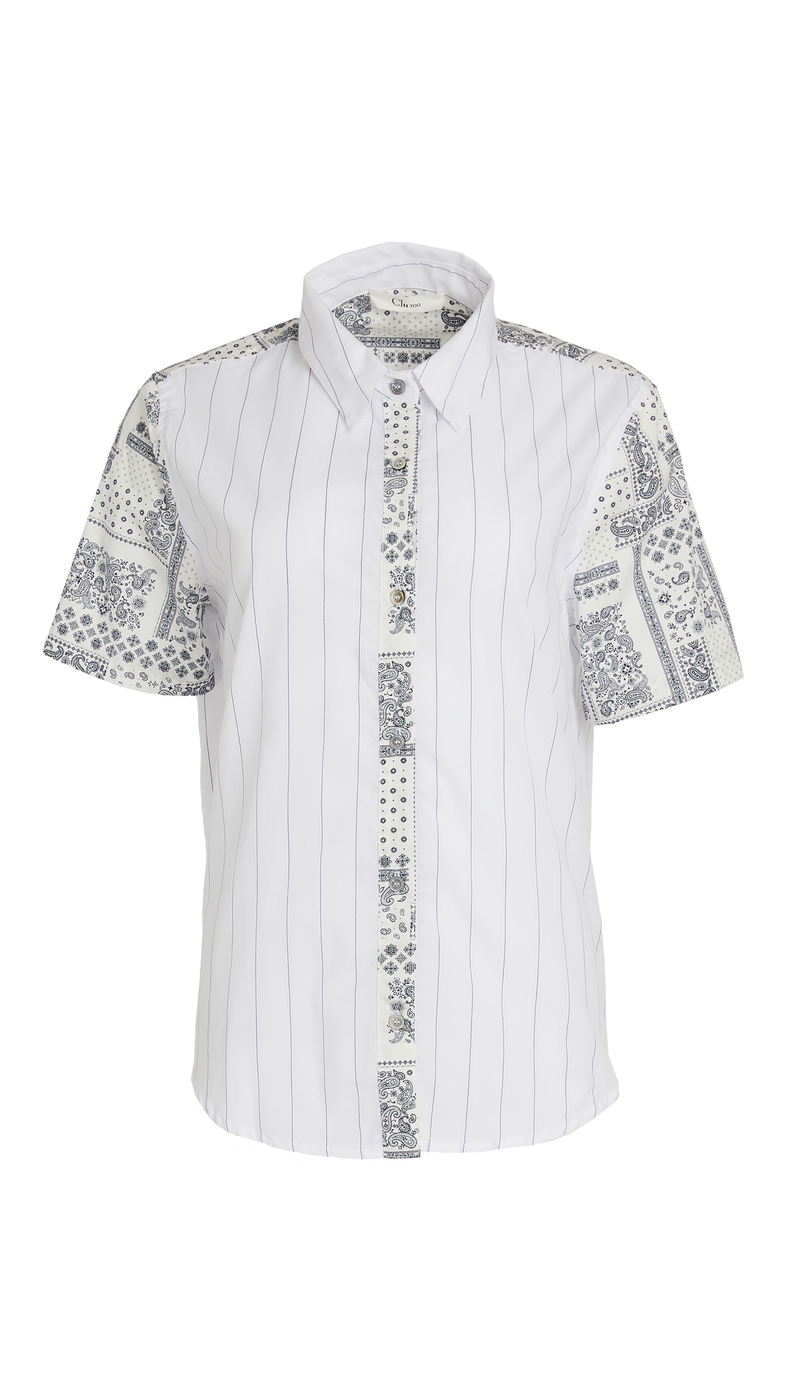 Clu Mix-Media Button Up Blouse