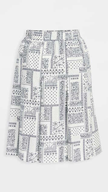 Clu 混合材质拼接半身裙