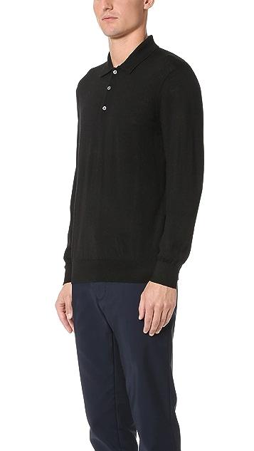 Club Monaco Long Sleeve Merino Polo Shirt