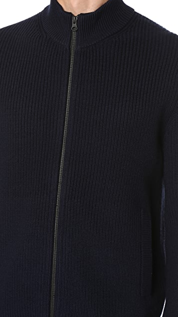 Club Monaco Merino Rib Full Zip Cardigan