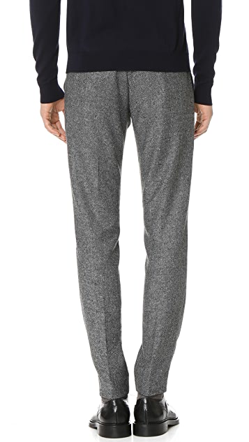 Club Monaco Tapered Dress Side Tab Herringbone Trousers