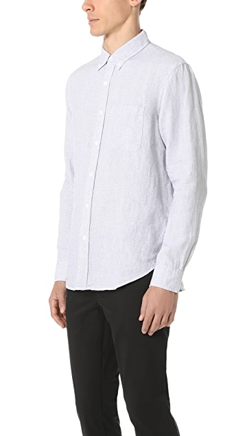 Club Monaco Slim Button Down Linen Houndstooth Shirt