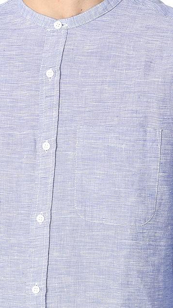 Club Monaco Slim Band Collar Linen End on End Shirt