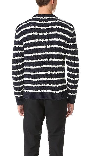 Club Monaco Striped Cable Crew Sweater