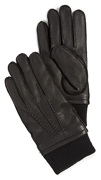 Club Monaco Ribbed Leather Gloves