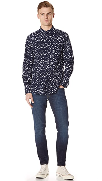 Club Monaco Slim Button Down Abstract Print Shirt