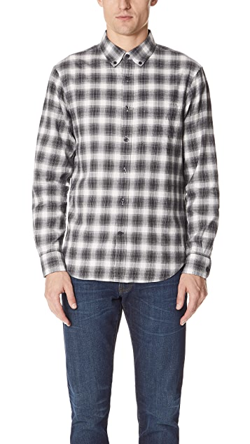 Club Monaco Flannel Plaid Ombre Shirt