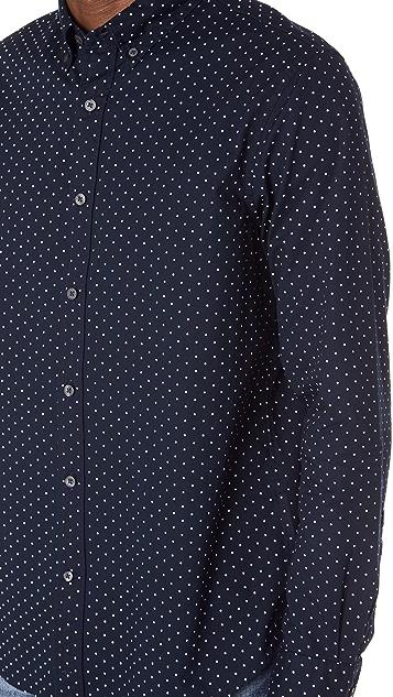 Club Monaco Slim Button Down Dot Shirt