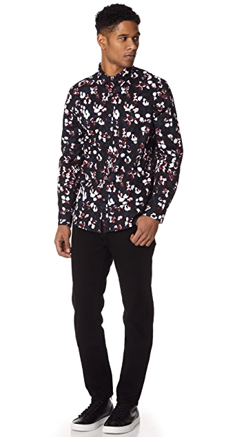 Club Monaco Slim Button Down Pointer Spot Shirt