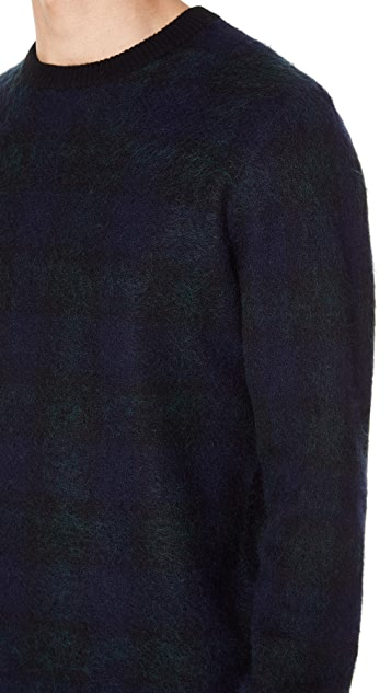 Club Monaco Plaid Brush Crew Sweater