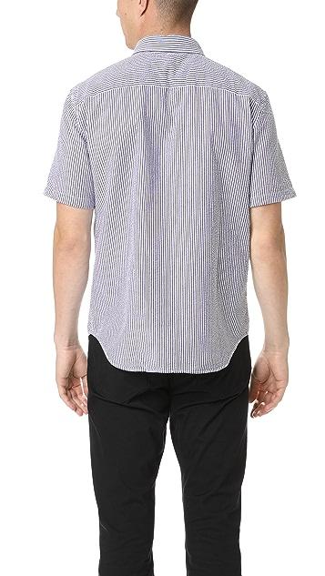 Club Monaco Short Sleeve Seersucker Shirt