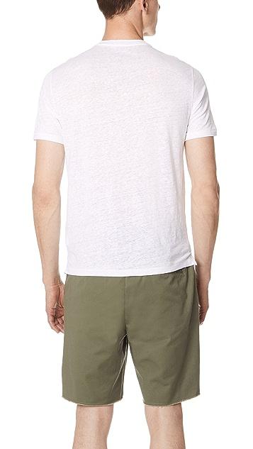 Club Monaco Short Sleeve Linen Henley