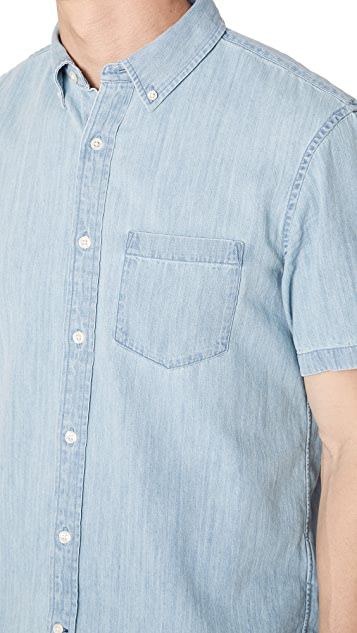 Club Monaco Short Sleeve Denim Shirt