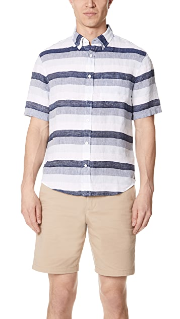 Club Monaco Linen Stripe Shirt ...